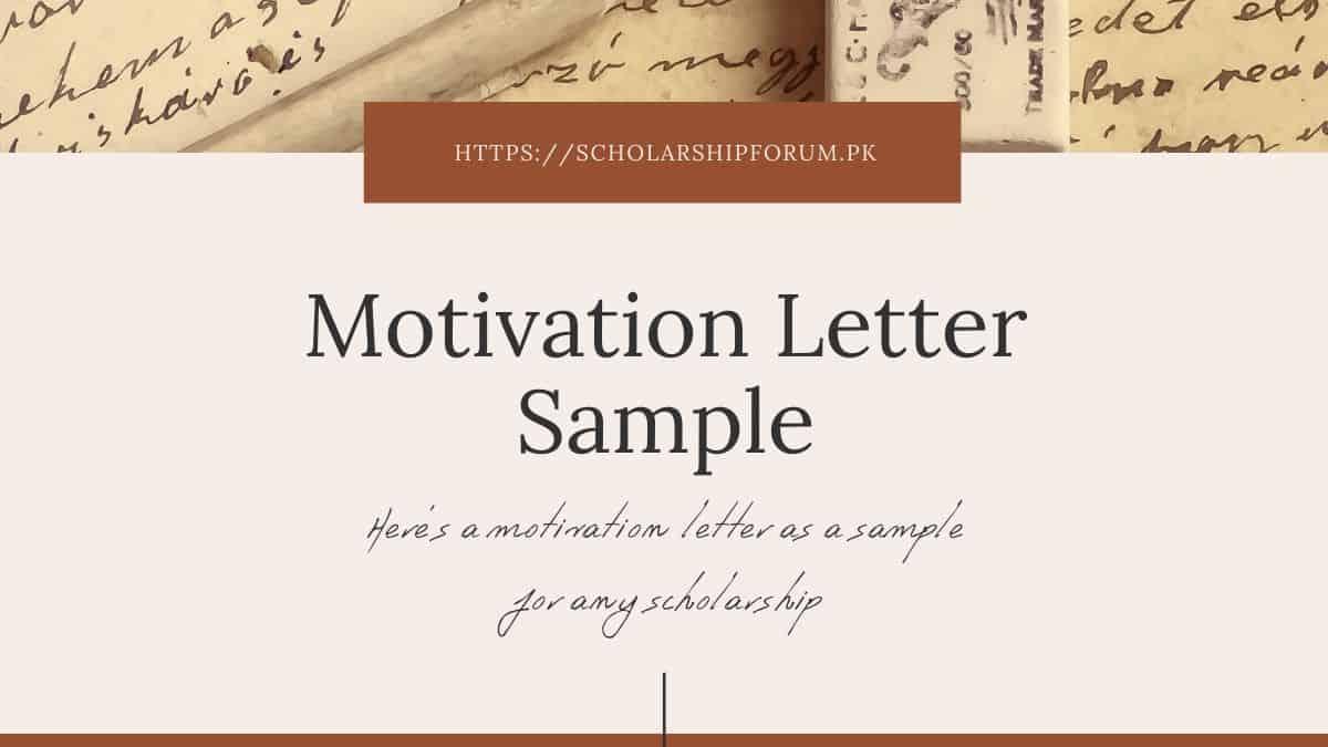 Sample Motivation Letter for Scholarship Applications ...